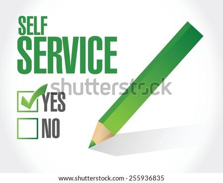 self service check mark illustration design over white - stock vector
