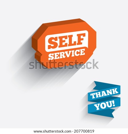 Self service sign icon. Maintenance button. White icon on orange 3D piece of wall. Carved in stone with long flat shadow. Vector