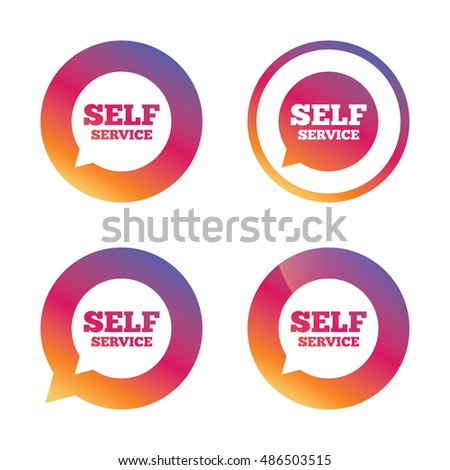 Self service sign icon. Maintenance symbol in speech bubble. Gradient buttons with flat icon. Speech bubble sign. Vector