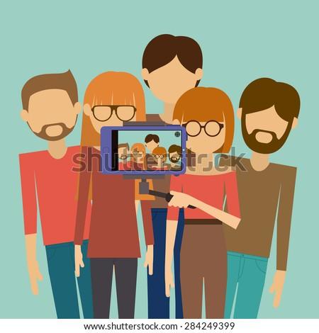 Selfie design over blue background, vector illustration - stock vector