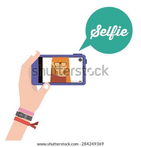 Selfie design over white background, vector illustration - stock vector
