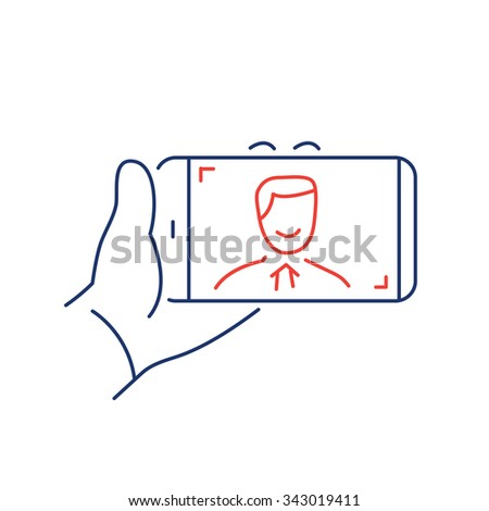 selfie gesture on smartphone or camera with one hand vector linear icon and infographic | illustration of gear and equipment for photographers blue and red isolated on white background - stock vector