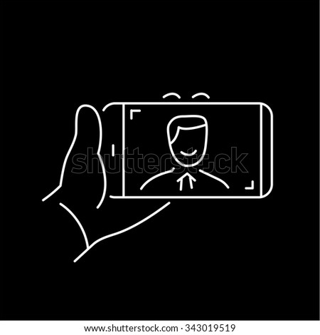 selfie gesture on smartphone or camera with one hand vector linear icon and infographic | illustration of gear and equipment for professional photographers and amateurs white on black background
