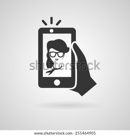 Selfie icon. Trendy woman taking a self portrait on smart phone. Vector illustration.  - stock vector
