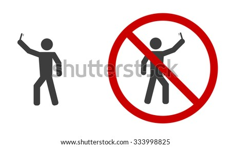 selfie icon with stop sign - stock vector