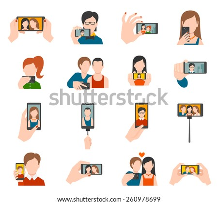 Selfie icons flat set with people taking photo portraits isolated vector illustration - stock vector