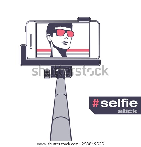 Selfie on smartphone using monopod. Young man taking own self portrait with mobile phone and stick. Isolated vector object for poster and placard backgrounds. - stock vector