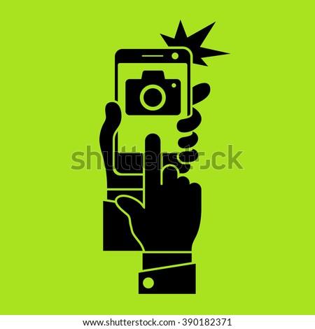 Selfie phone photo in green, vector illustration - stock vector