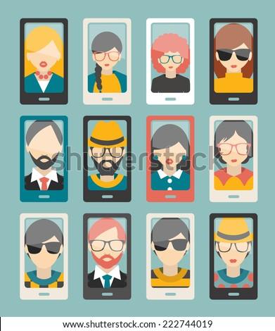 Selfie photo flat collection. Men, woman portrait. Vector. - stock vector