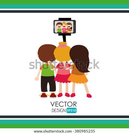 selfie photography design  - stock vector