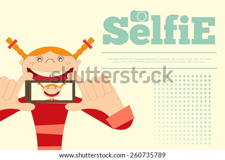 Selfie Poster. Girl with Phone. Flat Card. Vector Illustration. - stock vector