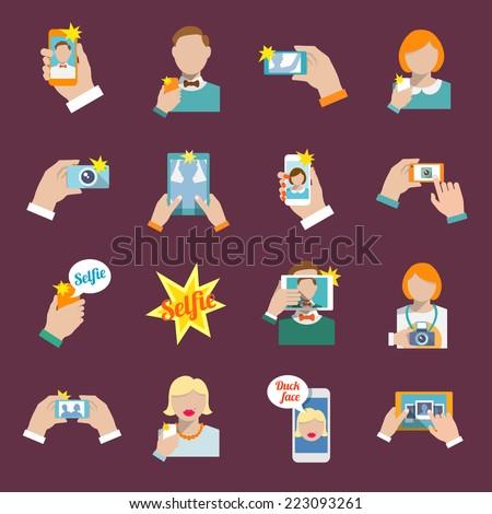 Selfie self portrait camera portrait photo taking flat icons set isolated vector illustration. - stock vector