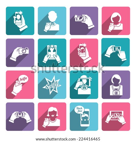 Selfie self portrait taking smartphone camera technology flat icons collection set isolated vector illustration - stock vector