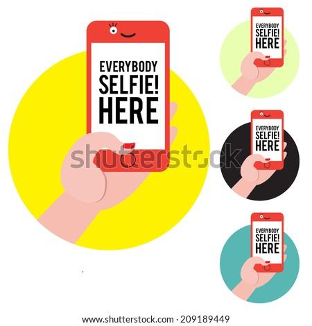 Selfie sign ot label collection vector mix - stock vector