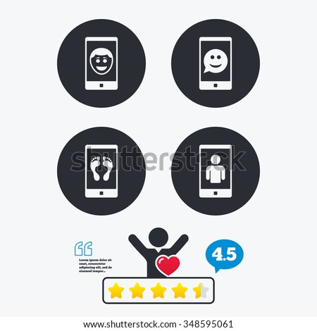 Selfie smile face icon. Smartphone video call symbol. Self feet or legs photo. Star vote ranking. Client like and think bubble. Quotes with message. - stock vector