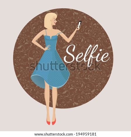 Selfie. Smiling girl making a photography of herself with mobile phone. Photography tendencies and trends for your design. Beautiful young woman posing in vintage dress with dots on floral background  - stock vector