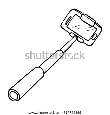selfie stick and smartphone / cartoon vector and illustration, black and white, hand drawn, sketch style, isolated on white background. - stock vector