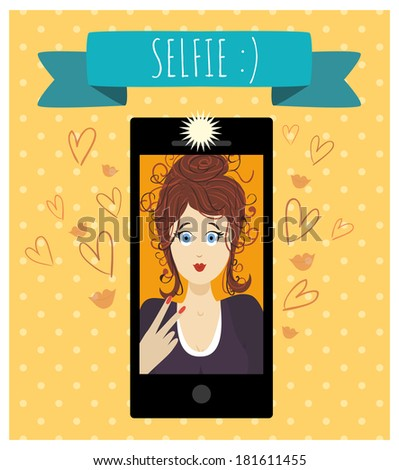 Selfie. The girl making a photography of herself with a mobile phone. Photography tendencies and trends. The screen of mobile phone with a cute smiling girl's face. - stock vector