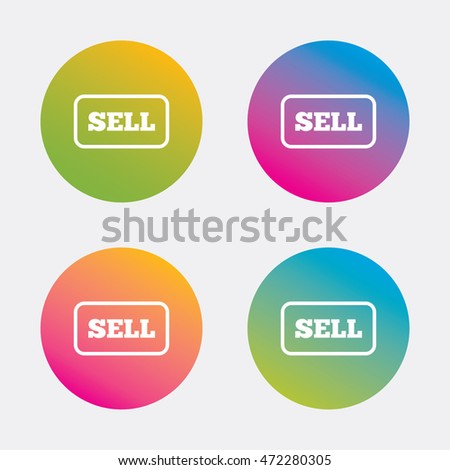Sell sign icon. Contributor earnings button. Gradient flat buttons with icon. Modern design. Vector