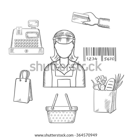 Seller profession with shopping icons including a bag, cash register, credit card,  payment, bar code and groceries around a female shop seller. Sketch style vector - stock vector