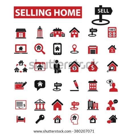 selling home, real estate, agent, agency, buildings icons  - stock vector