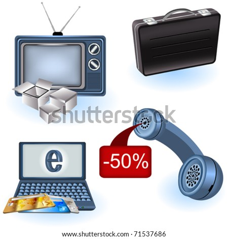 Selling icons - stock vector