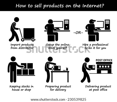 Selling Product Online Internet Process Step by Step Stick Figure Pictogram Icons - stock vector