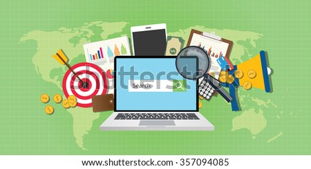 sem search engine marketing seo advertising analysis notebook  - stock vector