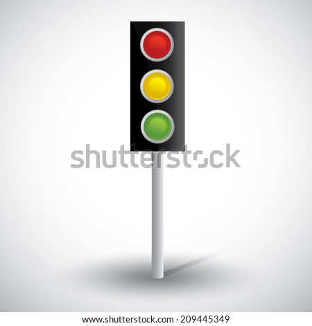 Semaphore vector illustration. 3d traffic lights with shadow