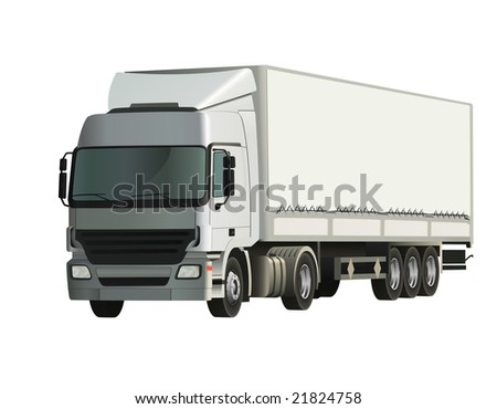 Semi-trailer truck, detailed and realistic vector illustration - stock vector