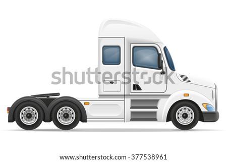 semi truck trailer vector illustration isolated on white background - stock vector