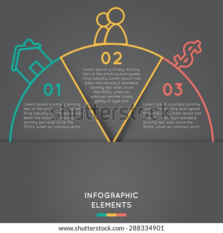semicircle infographic elements concept for success business project template with text areas on three positions. - stock vector