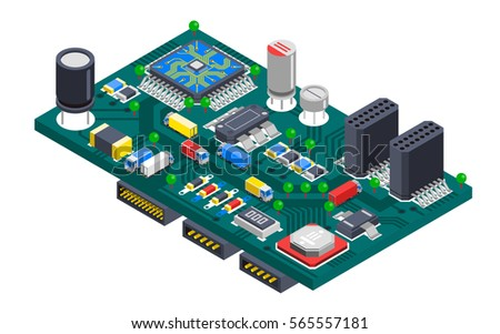 Semiconductor electronic circuit board isometric composition with silicon chips and cargo trucks driving on wire tracks vector illustration