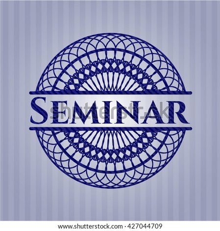 Seminar badge with denim texture - stock vector