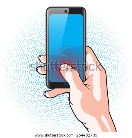 Semitransparent Smartphone with Red Button in Hand - stock vector