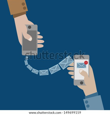 Send an email by phone - stock vector