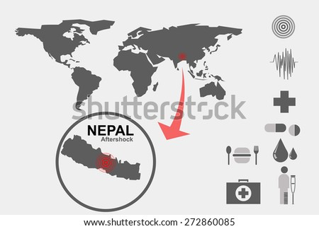 send emergency aid to Nepal.Nepal earthquake.Elements of this image furnished by NASA - stock vector