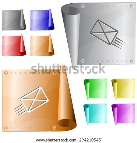send mail. Vector metal surface. - stock vector