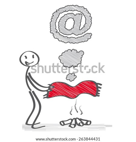 sending a message by smoke signals - stock vector