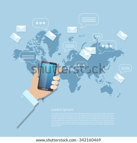 Sending messages mms sms touch screen mobile phone global communications - stock vector