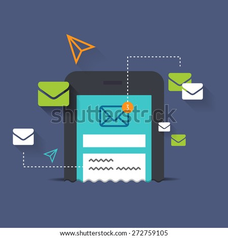 Sending SMS with advertisement. Using email marketing for sending personal sale coupon codes. Receiving notifications on my smart phone. Chatting with friends on mobile phone.  - stock vector