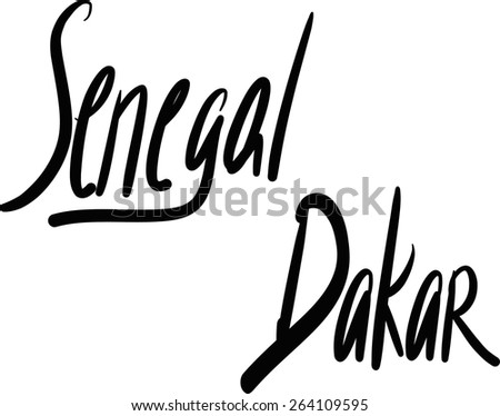 Senegal, Dakar, hand-lettered Country and Capital, handmade calligraphy, vector
