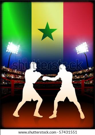 Senegal Flag with Boxer on Stadium Background Original Illustration - stock vector