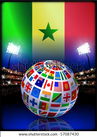 Senegal Flag with Globe on Stadium Background Original Illustration