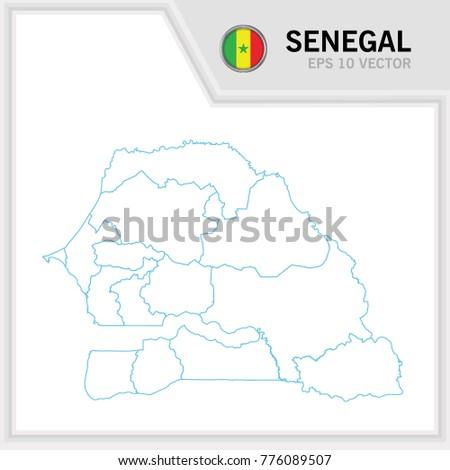 Senegal Map Flag White Background Stock Vector - Senegal map vector