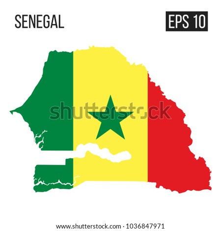Senegal map border with flag vector eps10
