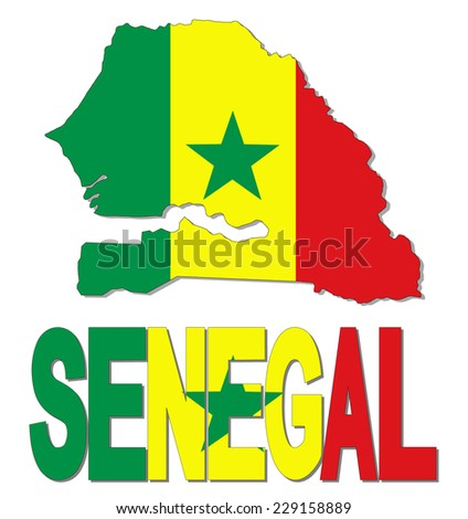 Senegal map flag and text vector illustration - stock vector