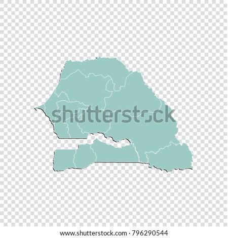 Senegal Map High Detailed Pastel Color Stock Vector - Senegal map vector