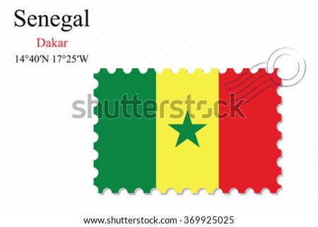 senegal stamp design over stripy background, abstract vector art illustration, image contains transparency