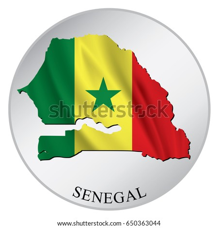 Senegal vector sticker with flag and map label round tag with country name
